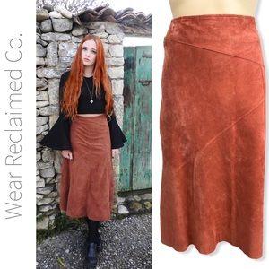 SKOTTS SUEDE Apricot Suede Midi Skirt